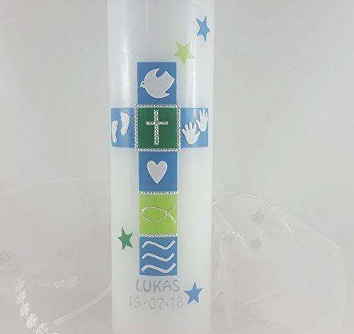 Taufkerze Kreuz, für Jungs, handarbeit, blau, Beschriftung, mehrere Größen zur Auswahl, Sterne