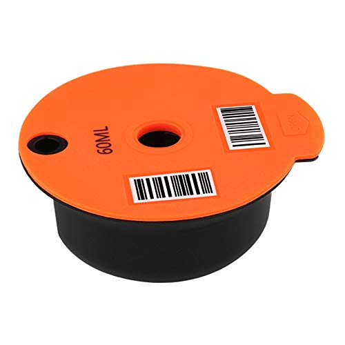 perfk Wiederverwendbarer Kaffeefilter, Nachfüllbar Reusable PP Kunststoff Kaffee Kapsel Tasse für Bosch Tassimo, mit Edelstahl Mesh - 60ml