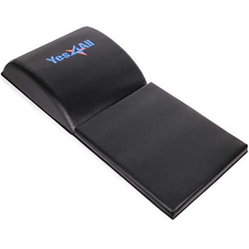 Yes4All Ab Exercise Mat with Tailbone Protecting Pad, Abdominal Wedge - Support for Abs Workout, Sit Up - Abdominal Mat Tailbone Protector (Black)