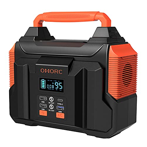 300W Portable Power Station, OMORC Pure Sine Wave Camping Generator,...