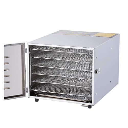 CO-Z Deshidratador de Alimentos 600W Deshidratador de Frutas y Verduras 6 Pisos Secadora de Alimentos 12 Horas Deshidratador de Carne Acero Inoxidable