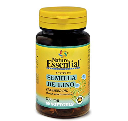 Nature Essential | Aceite de Semilla de Lino 500 mg | Rico en Ácidos Grasos y Omega-3 | Complemento Alimenticio con Propiedades Antioxidantes | 50 Perlas
