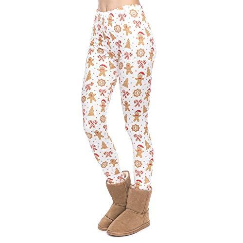 Pantalons De Yoga De Legging Design Unique Simple Style Femmes Noël en Pain D'Épice d'impression Leggings Mode Fitness Taille Haute Femme Pantalon (Color : Lga49176, Size : One Size)