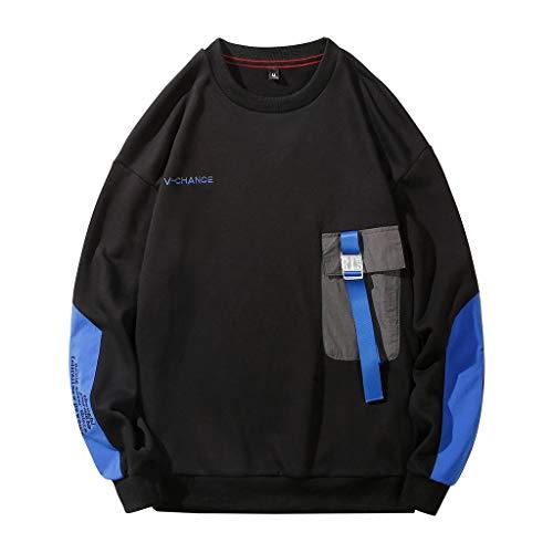 AKAIDE Herren Pullover, modisch, bedruckt, locker, bequem, langärmelig Gr. Large, Schwarz