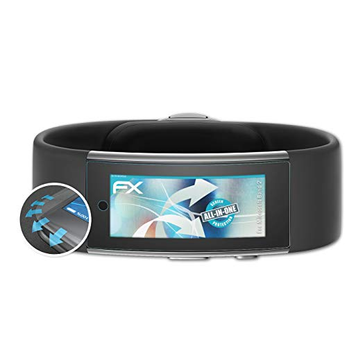 atFoliX Schutzfolie kompatibel mit Microsoft Band 2 Folie, ultraklare & Flexible FX Bildschirmschutzfolie (3X)