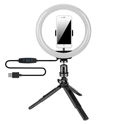 "SSDXY 10"" Selfie Ring Light with Tripod Stand & Cell Phone Holder, Dimmable Desktop LED Lamp Camera Ringlight with Wireless Remote Shutter for Live Stream/Makeup/YouTube Video/Photography"