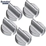 W10594481 Stainless Steel Stove Control Knob Burner knob Upgrade All Metal with Interface 5Pack Cover Knob for Whirlpool Stove/Range-Replace WPW10594481, W10594481(CAV1)