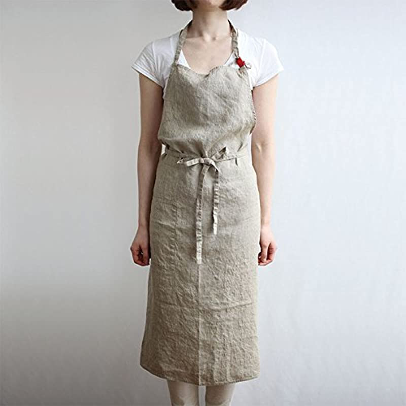 Emolife Adjustable Bib Cotton Linen Apron With Pocket 39 X 39 Inches Cooking Kitchen Aprons For Women Men Chef Beige