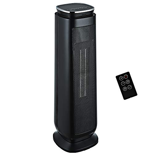 Aikoper Space Heater, 1500W Ceramic Tower Heater, Portable Electric Oscillating Heater with Adjustable Thermostat, ECO Mode, Remote Control, 8-Hrs Timer, Overheat & Tip-over Protection for Indoor Use