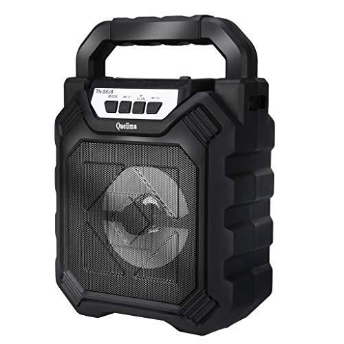 Altavoz Bluetooth,CHshe??,Altavoz multimedia inalámbrico ,LED portátil de 50W BT4.2 + DER completamente alimentado,Mini cámara H9 HD, tamaño pequeño, fácil de ocultar (Negro)