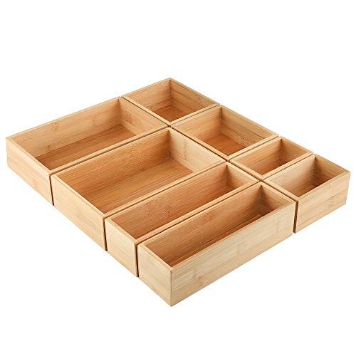 Kootek 8 Pcs Bamboo Drawer Organizer Utensil Tray Kitchen Storage Box 4-Size Versatile Dividers Cutlery Holders Bins Containers for Flatware Kitchen Utensils
