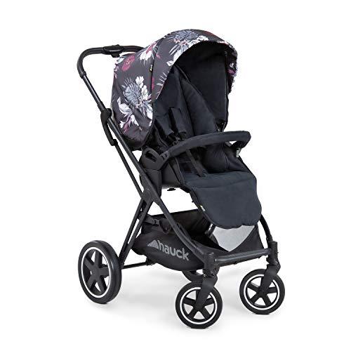 Silla deportiva Hauck Mars con cubrepies, asiento giratorio, hasta 25 kg, capota 3XL, cesta grande, plegable de forma compacta, compatible con capazo y grupo 0+ para bebés - Negro