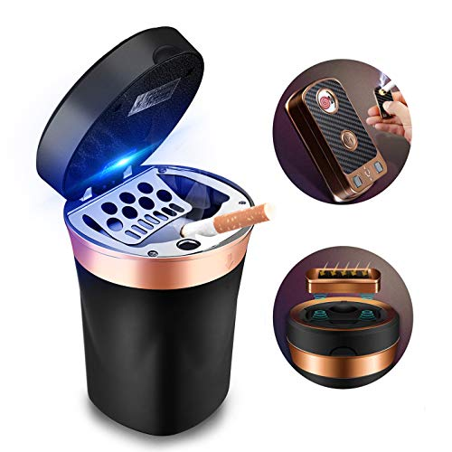 SOLARXIA Car Ashtray, Auto Ashtray Cigar Electronic Cigarette Lighter Detachable Solar Powered / USB Rechargeable with Lid Blue LED Light for Most Car Cup Holder Home Office (Black)