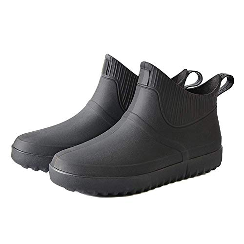 iSunday Hombre Goma Lluvia Zapatos sin Cordones Impermeable Tacón bajo Tubo PVC Lluvia Botas Trabajo - Negro, 44