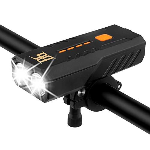 自転車 ライト 防水防塵 LED自転車ヘッドライト USB充電式 ロードバイク ライト 2400mAhモバイルバッテリー 防災グッズ 懐中電灯兼用 停電対応 地震対策野営 登山 夜釣り