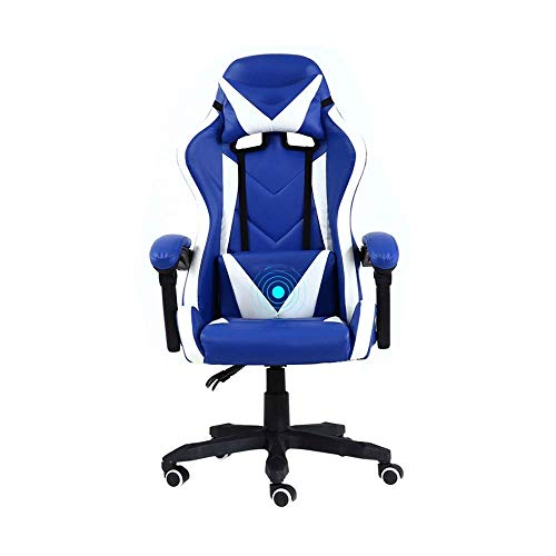 N/Z Daily Equipment Chair Drehstuhl Gaming Chair Hochdrehender Sessel Liegender Computerstuhl Ergonomie Bürostuhl mit Kopfstütze und Lordosenstütze Blau Weiß