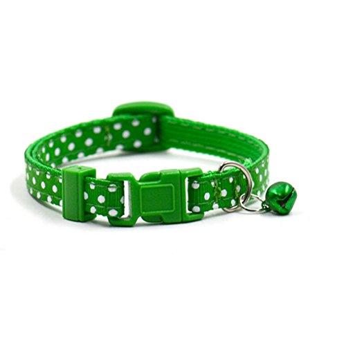 UEETEK Regolabile Gatto Cane Collana Collare Collare per Gatto con Campana Verde