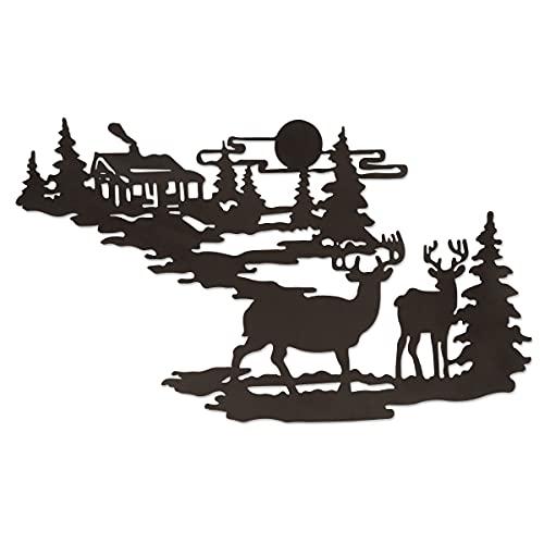 Cervo nella Foresta in Metallo Decorazione Alce in Metallo Decorazione da Parete Arte Appeso per la casa Soggiorno Camera da Letto Giardino Patio Decorazione per Interni o Esterni, 25 x 30 cm
