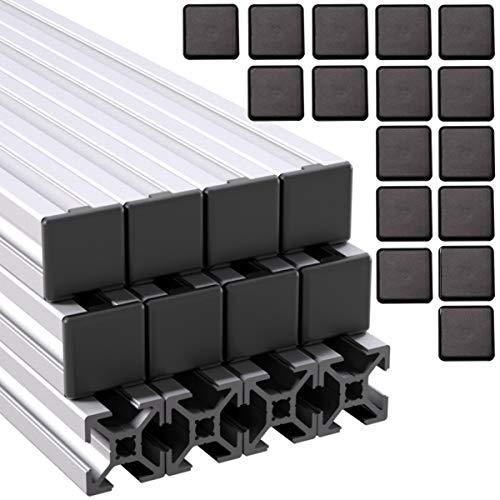 Ulber24- Aluprofil 20x20 Nut6 Typ-B,12x2m=24m +24x Abdeckkappen Aluminium Konstruktion- Montage- System 2020 Alu Schiene Stecksystem Vierkant Profil B-Typ Nut 6