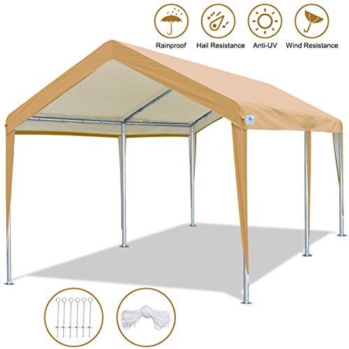 ADVANCE OUTDOOR 10 x 20 FT Heavy Duty Carport Canopy Car Garage Shelter Party Tent with Steel Pegs and Anchors, Beige