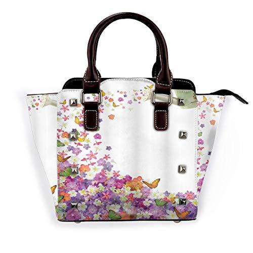 BROWCIN Blumige Schmetterlinge Narzisse Blumen Veilchen und Stiefmütterchen, die aus der alten Gießkanne herausgießen Abnehmbare mode trend damen handtasche umhängetasche umhängetasche