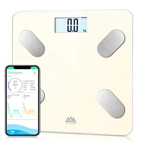 SENSSUN Bascula de Baño Digital Grasa Corporal,balanzas digitales bluetooth,Analiza la composición corporal,con 13 Funciones,IMC/músculo/grasa corporal/masa ósea(Blanco crema)