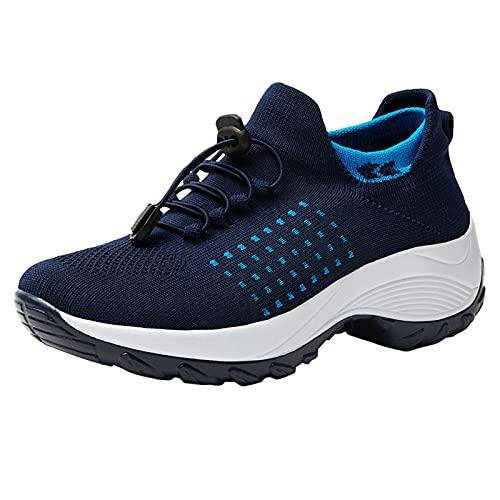 Plateau Scarpe da Ginnastica Donna Sneakers con Zeppa Traspirante Leggere Slip on Mocassini Loafers Casual Scarpe Sportive (A55-Blue,36)