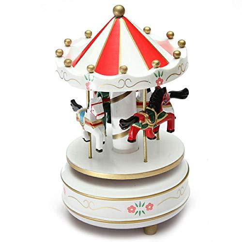 IADZ Caja de música, carrusel de la música de madera carrusel caja de música juguete niños bebé blanco juego caja de música