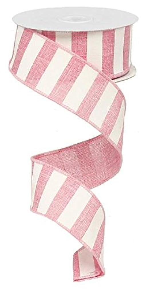 Stripe Burlap Canvas Wired Edge Ribbon (1.5
