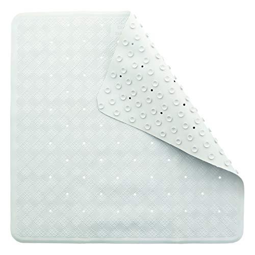 TowelsRus Alfombrilla de Ducha de Goma Antideslizante y antimicótica, Blanca con ventosas 53 cm x 53 cm