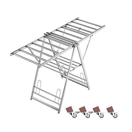 Aiaoi Tendedero, Tendedero Plegable Aleación De Aluminio Tres Pisos Puede Moverse Polea, Plata (Color : Silver, Size : 1.6m)