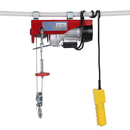 Electric Hoist, 100/200kg Electric Winch Overhead Crane Lift Power Cable Hoist Lifting Wire Hanging Crane Garage Ceiling Pulley US Plug 110V