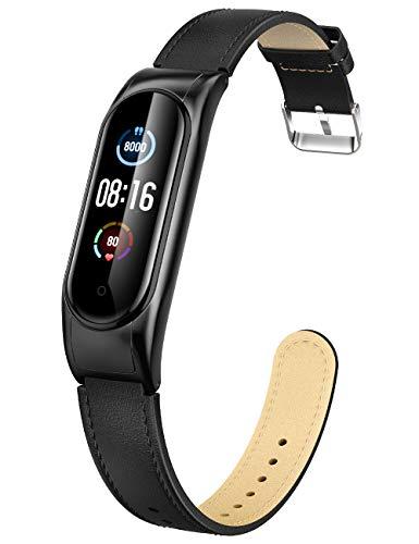 Peakally Kompatibel Mit Xiaomi Mi Band 5 / Mi Band 6 Armband, Leder Replacement Wrist Strap Band Uhrenarmband Handgelenk Band Zubehör für Xiaomi Mi Band 5 / Mi Band 6, Schwarz