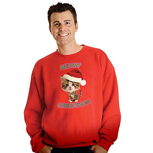 Morphsuits Digital Dudz Meow Kitty Ugly Christmas Sweatshirt, Red, Medium