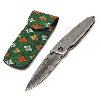 MCUSTA Couteau de poche en acier Damas japonais 33 couches avec étui mc-e 0034d
