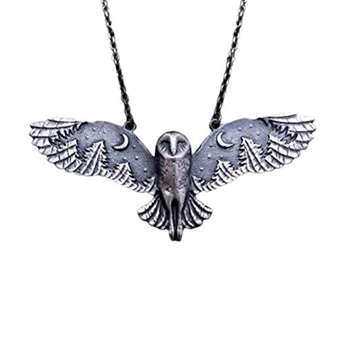 WIIBST Aleación de aluminio retro bosque búho collar lindo animal colgante animal tótem collares joyería regalos