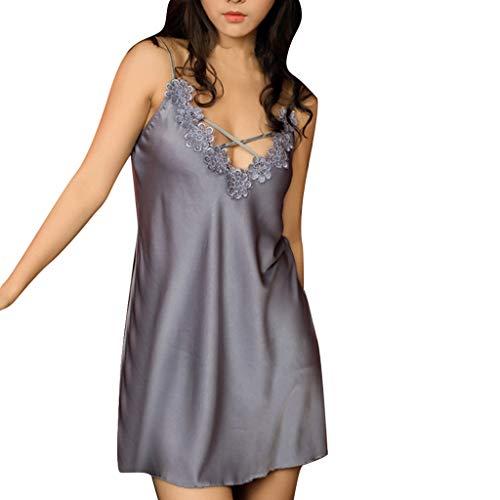 QHJ Schlafanzug Damen, Schlafanzug Damen Sexy Silk Fashion Sling Nachtwäsche Dessous Lace Unterwäsche Satin Lace Sling Pyjamas (Grau, XL)