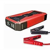 TOTMOX 12 V 10000 mAh - Cable de carga de emergencia para coche, enchufe británico, clips de batería, doble salida USB para teléfono, tableta, cámara Kindle, color rojo