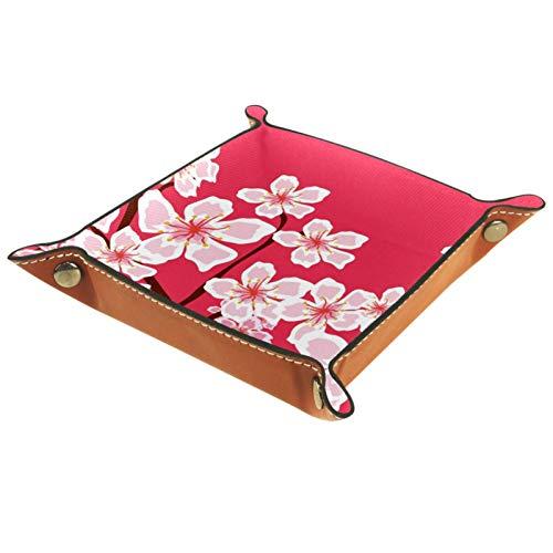 rodde Bandeja de Valet Cuero para Hombres - Flores de Cerezo - Caja de Almacenamiento Escritorio o Aparador Organizador, Captura para Llaves,Teléfono,Billetera