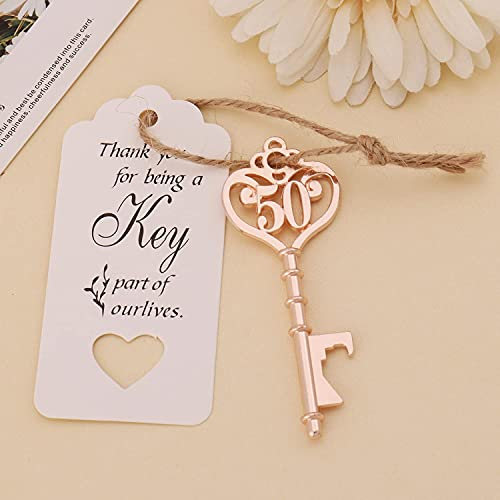 25 PCS 50th Birthday Party Favors 50 Shaped Key Bottle Openers for Birthday Wedding Gifts Souvenirs for Guest,50th Birthday Party Decorations (25, Gold 50th)