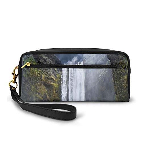 Federmappe aus PU-Leder, Wasserfall und Grand Cliffs in Nordamerika Force of Nature Kunstdruck, Federtasche, Make-up-Tasche