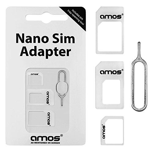 AMOS 4 en 1 Adaptador Convertidor de Tarjeta Nano SIM a Micro...