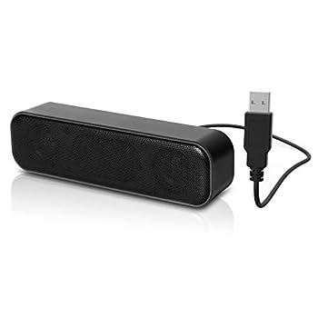 [Upgraded] USB Computer Speaker Laptop Speaker with Stereo Sound & Enhanced Bass Portable Mini Sound Bar for Windows PCs Desktop Computer and Laptops