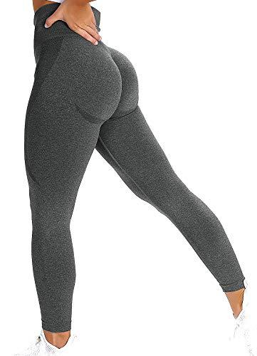 INSTINNCT Damen Scrunch Butt Leggings Booty Lifting Laufhose Sportstrumpfhosen Push Up Tights Yoga Pants Fitnesshose Yogahose Jogging Running Workout Training Gym Fitness Lächeln Stil - Dunkelgrau S