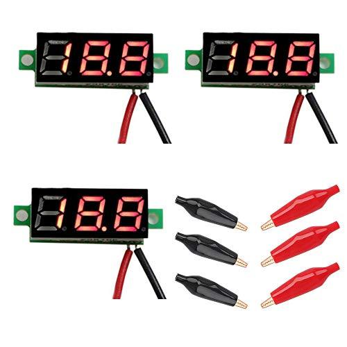 CESFONJER 3 Pcs Mini Digital Voltmeter DC 0,28 Zoll LED-Anzeige, Messbereich DC 2,5V-30V Zwei-Draht Spannungsprüfer/Rot