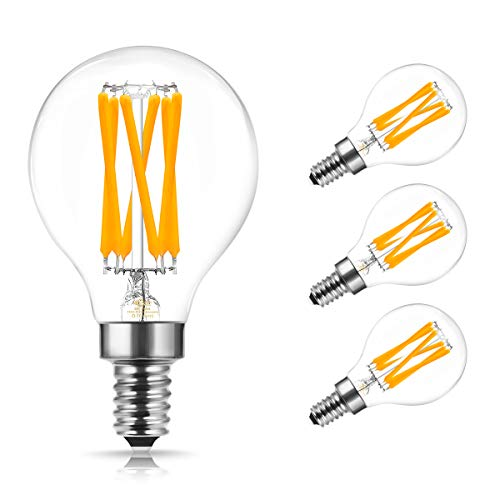DORESshop LED Filament Leuchtmittel, E14 G45 LED Edison Vintage Glühbirne, 6W Ersetzt 60W Klar Glas Glühfadenlampe, Warmweiß 2700K, 600LM Retro Lampe für Kronleuchter, Nicht Dimmbar, 4er Pack