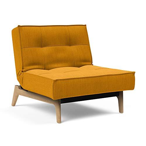 Innovation Splitback Sessel Eiche, gelb Stoff 507 Elegance Burned Curry Gestell Stahl schwarz Armlehnen Beine lackierte Eiche