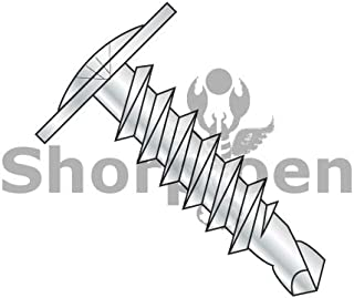 SHORPIOEN Phillips Modified Truss Head Self-Drilling Tek Screw, Zinc-Plated Steel for Sheet Metal Attaches Wire Lath to Metal Studs (100, 8 x 3/4)
