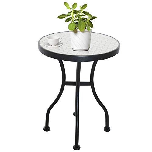 "Mosaic Table, KGOPK Accent Table, Patio Bistro Table, Coffee Table,Garden Backyard Dining Table, Plant Stand for Outdoor & Indoor, Heavy Duty, 14""(Dia) x 18""(H)"