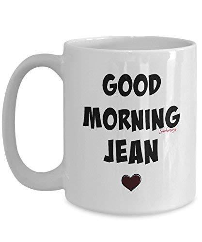 Queen54ferna goede morgen Jean Novelty koffie mokken 11 Oz Chrismtas mokken, keramische koffie Cup maakt een perfect wit olifant cadeau